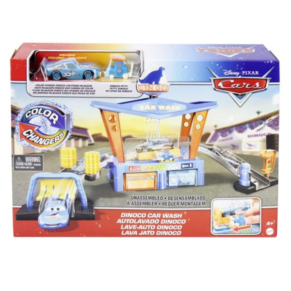 Disney Pixar Cars Playset Autolavaggio Dinoco Cambia Colore, con Veicolo Pitty e Macchinina Saetta McQueen, 4+Anni   Cars, Pixar