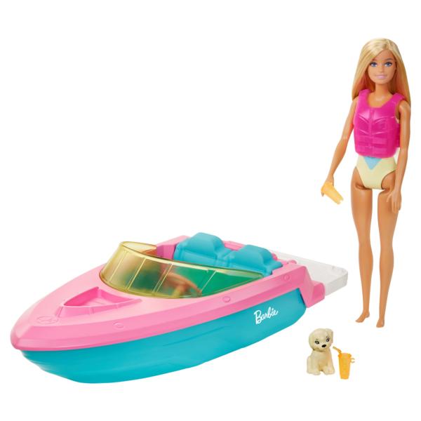 Barbie Playset con Bambola Bionda, Motoscafo Galleggiante, Cucciolo e Accessori, 3+Anni Barbie