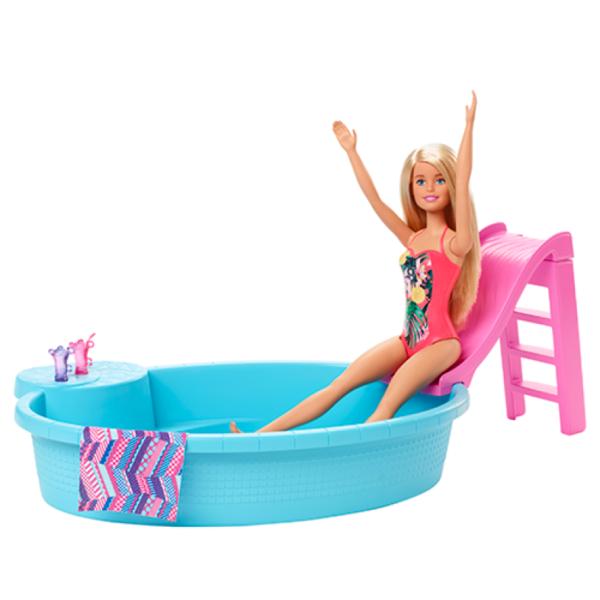 Barbie  Barbie- Playset Bambola Bionda con Piscina e Accessori, 3+Anni