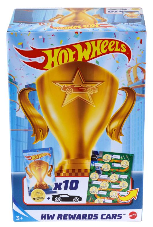 Hot wheels, pack premio con 10 veicoli a sorpresa impacchettati singolarmente e 10 adesivi, 4+anni - Hot Wheels
