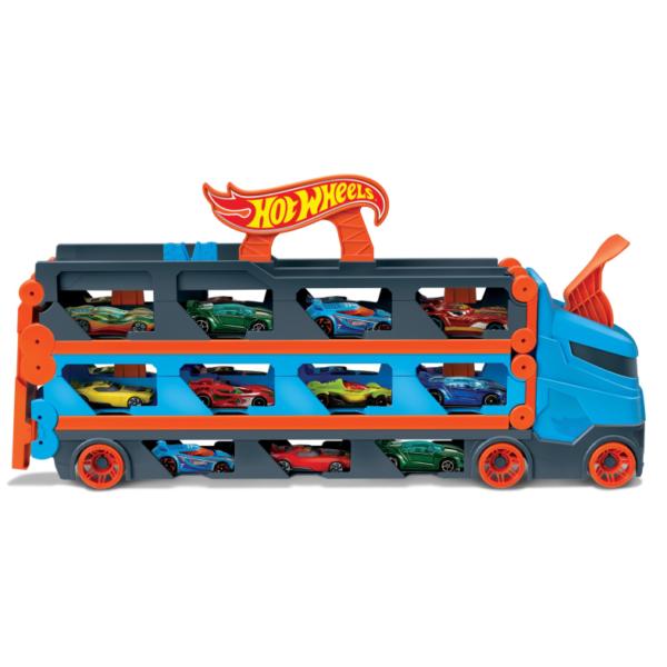 Hot Wheels 2in1 Camion Trasportatore e Pista con 3 Macchinine, 4+anni   Hot Wheels