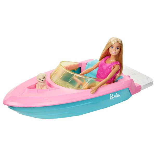 Barbie  Barbie Playset con Bambola Bionda, Motoscafo Galleggiante, Cucciolo e Accessori, 3+Anni