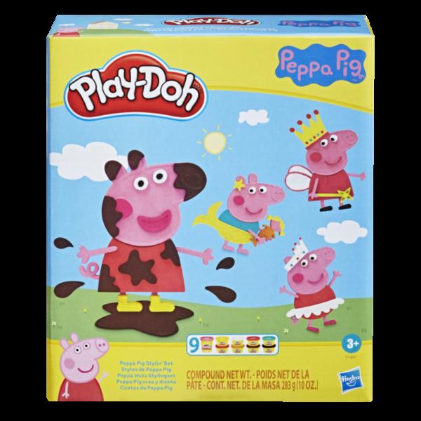PLAYDOH  HASBRO PLAY-DOH PEPPA PIG STYLIN SET CON 9 BARATTOLI DI COMPOSTO MODELLABILE ATOSSICO, 11 ACCESSORI, GIOCATTOLO DI PEPPA PIG PER BAMBINI DAI 3 ANNI IN SU