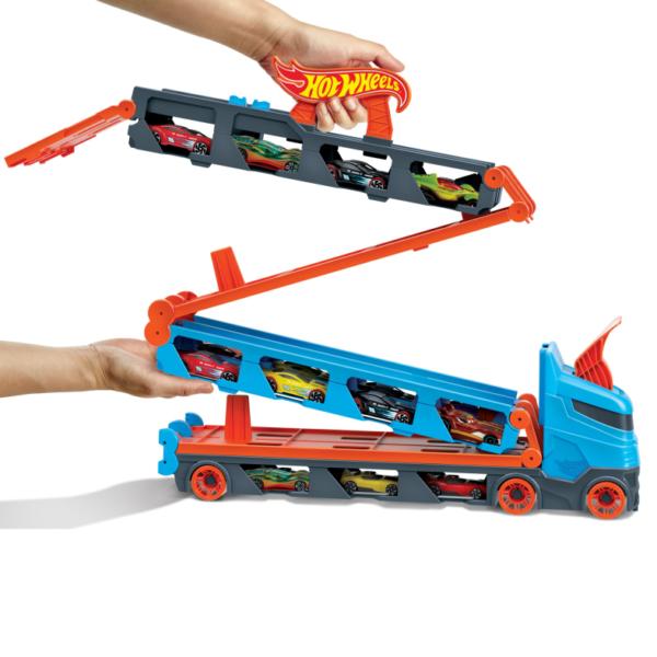 Hot Wheels Hot Wheels 2in1 Camion Trasportatore e Pista con 3 Macchinine, 4+anni