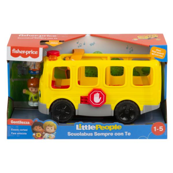 Little People- Scuolabus Sempre con Te, Veicolo Giocattolo a Spinta, 12+Mesi Little People