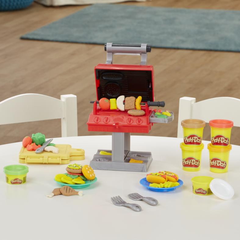 Hasbro play-doh kitchen creations barbecue, per bambini dai 3 anni in su, con 6 colori atossici - PLAY-DOH