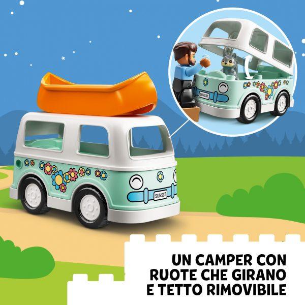 LEGO DUPLO, Lego   LEGO DUPLO Town Avventura in Famiglia sul Camper Van, Giocattoli Educativi per Bambini di 2 Anni con 4 Minifigure, 10946
