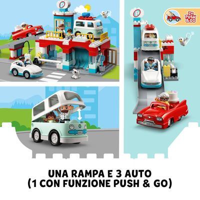 Lego  LEGO DUPLO Town Autorimessa e Autolavaggio, Garage per Macchine Giocattolo per Bambini di 2 Anni con Camper e 2 Auto, 10948