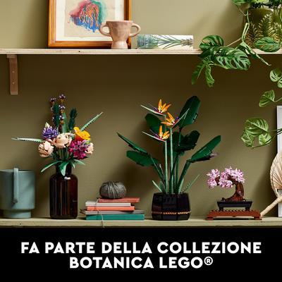 Lego creator expert uccello del paradiso, set di costruzioni per adulti, modello da esposizione con fiori artificiali, 10289 - Lego