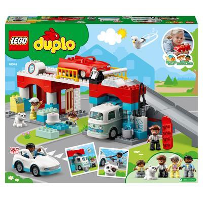 LEGO DUPLO Town Autorimessa e Autolavaggio, Garage per Macchine Giocattolo per Bambini di 2 Anni con Camper e 2 Auto, 10948 Lego