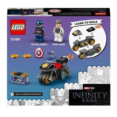 Lego super heroes marvel scontro tra captain america e hydra, giocattolo supereroi per bambini di 4 anni con moto costruibile, 76189 - Lego