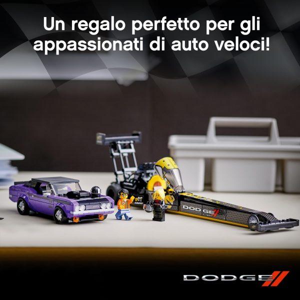 LEGO Speed Champions Mopar Dodge//SRT Top Fuel Dragster e 1970 Dodge Challenger T/A, Macchine Giocattolo per Bambini, 76904    Lego