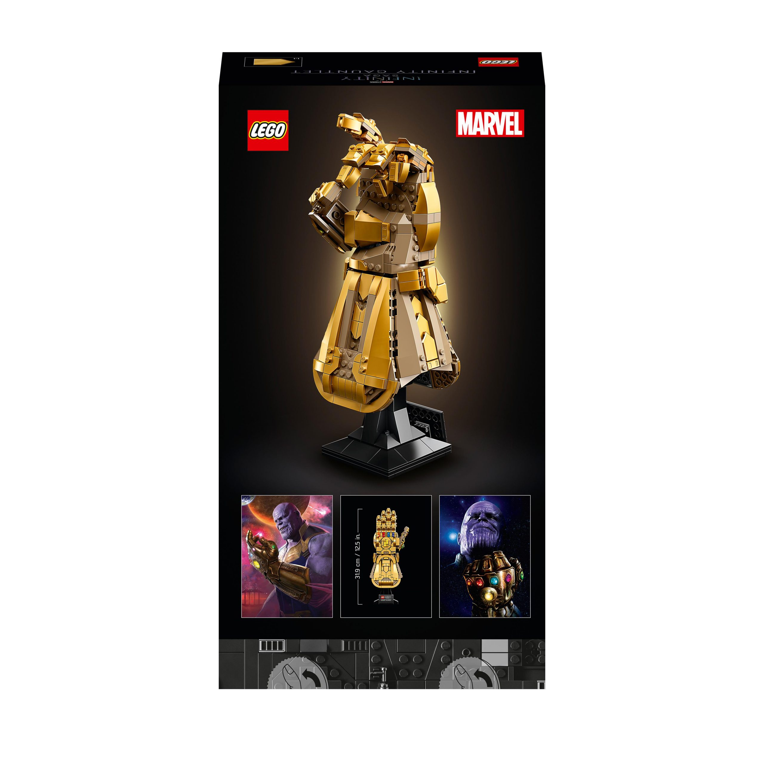 Lego super heroes marvel guanto dell'infinito di thanos, modello da costruzione avengers da collezione, regalo per adulti, 76191 -