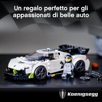 Lego  LEGO Speed Champions Koenigsegg Jesko, Auto Sportiva con Minifigure del Pilota, Macchina Giocattolo per Bambini, 76900