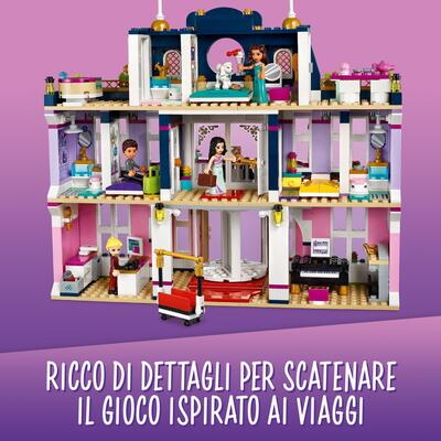 Lego friends grand hotel di heartlake city, casa delle bambole per bambini con 4 mini bamboline e accessori stagionali, 41684 - LEGO FRIENDS, Lego