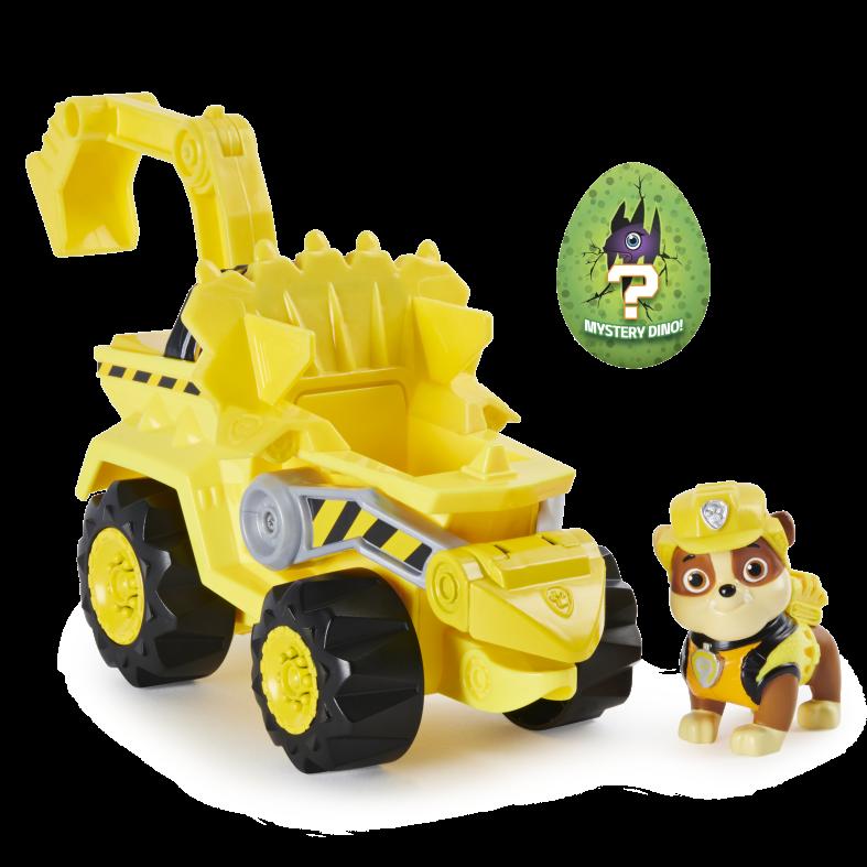 Paw patrol, veicolo a carica dino rescue rubble con dinosauro misterioso - Paw Patrol Dino