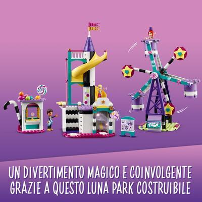 Lego friends la ruota panoramica e lo scivolo magici, costruzioni per bambini a tema parco giochi con mini bamboline, 41689 - LEGO FRIENDS, Lego