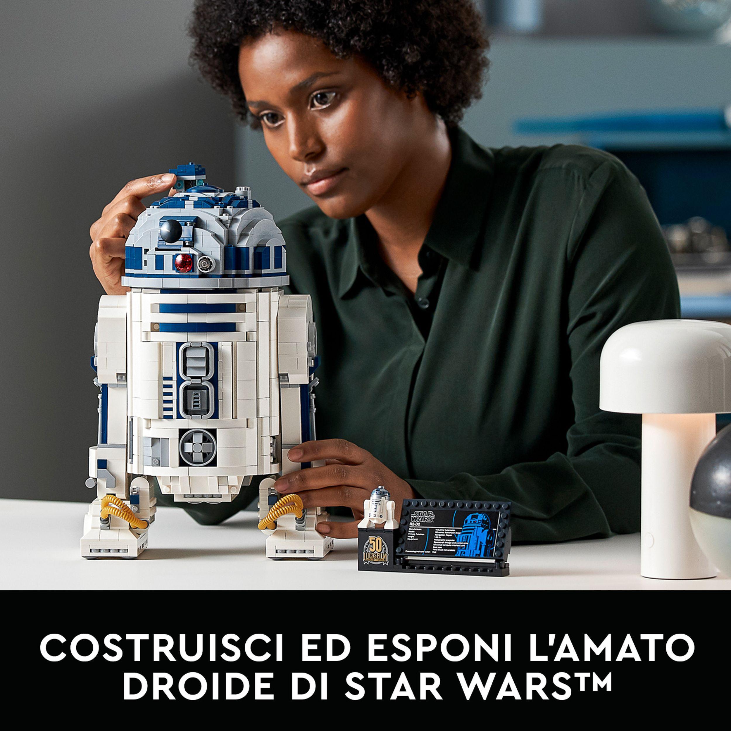 Lego star wars r2-d2 droide da costruzione per adulti, modello da esposizione con spada laser di luke skywalker, 75308 - Lego