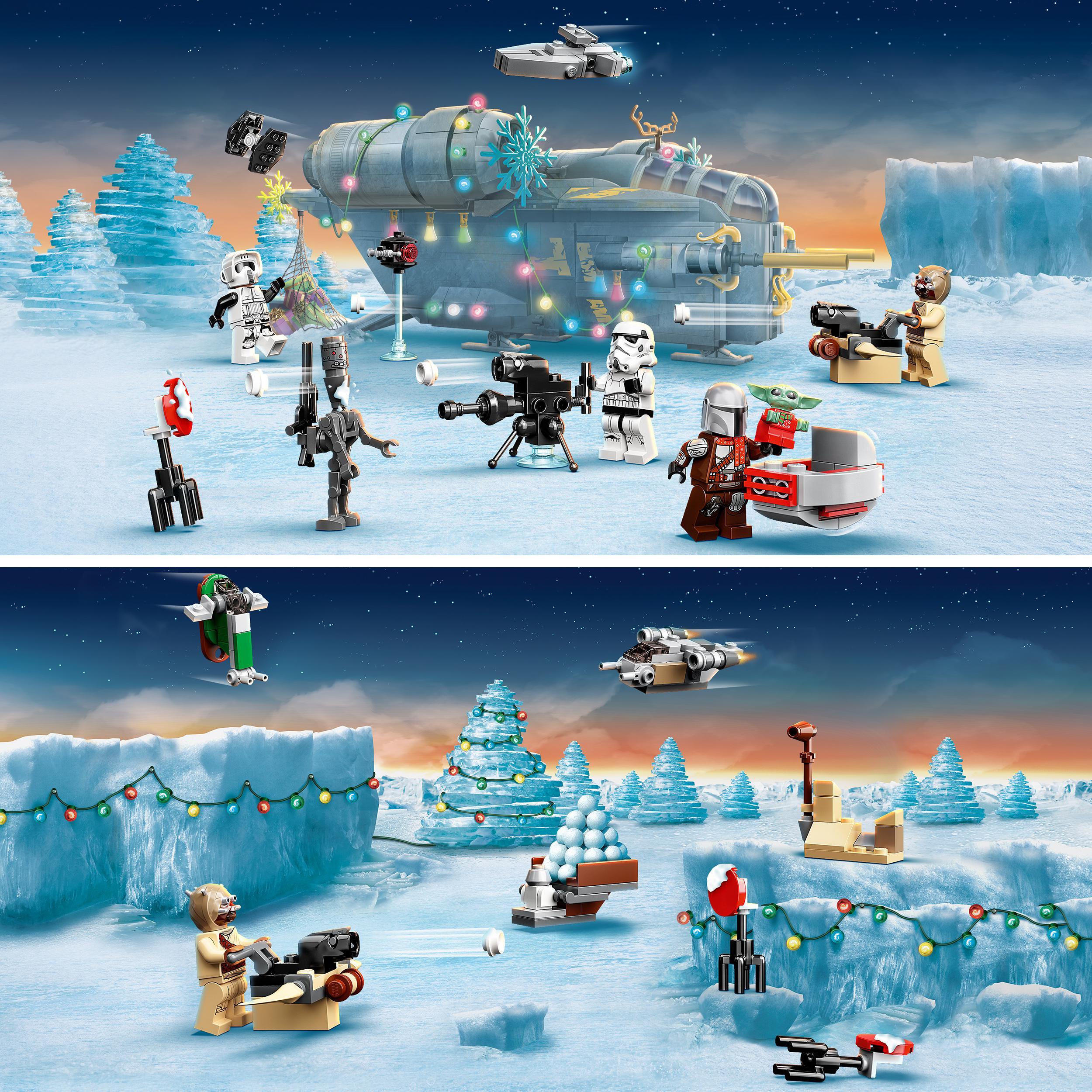 Lego star wars calendario dell'avvento 2021, il regalo natalizio mandaloriano per bambini dai 6 anni in su con mini baby yoda, 75307 - Lego