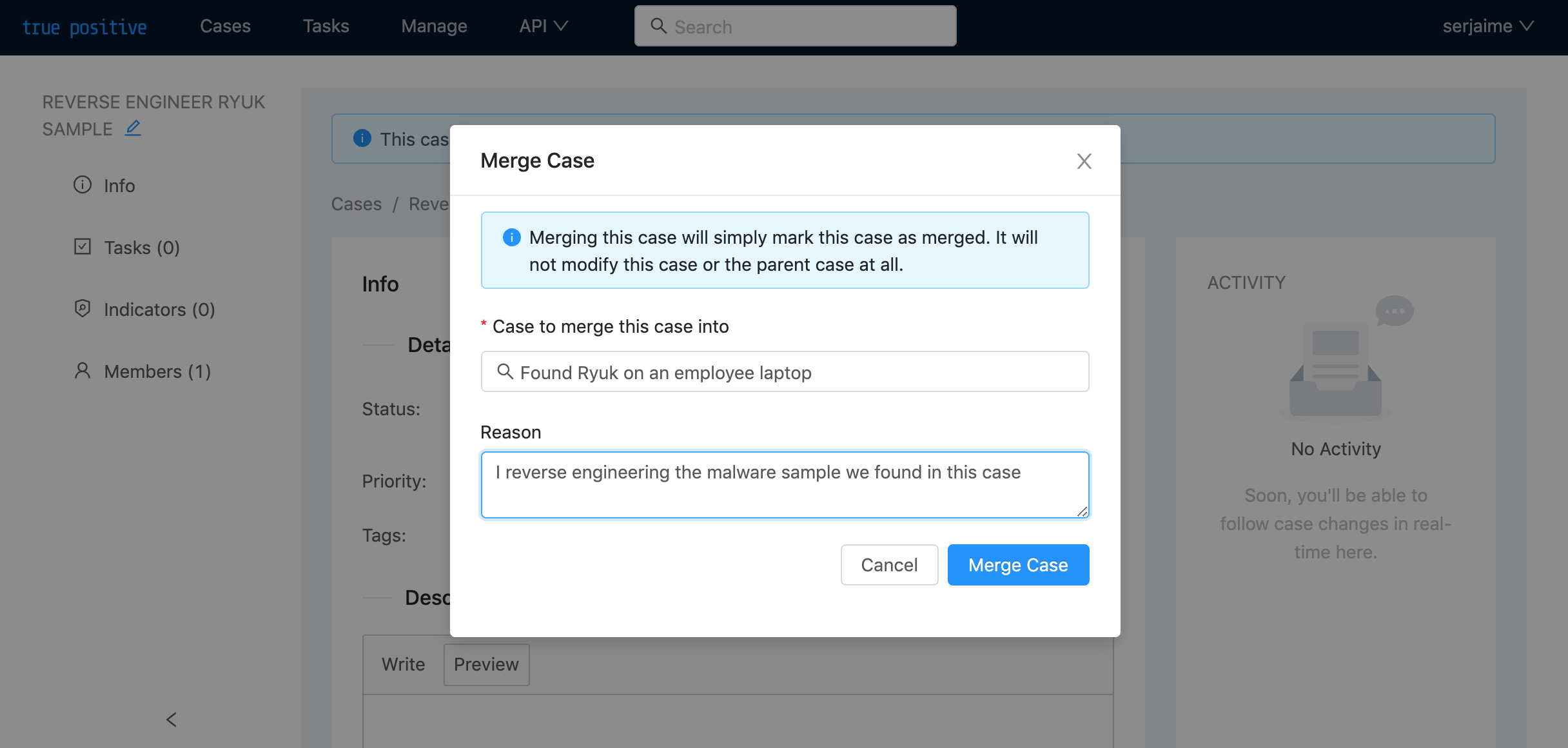 Form to fill out to merge a case