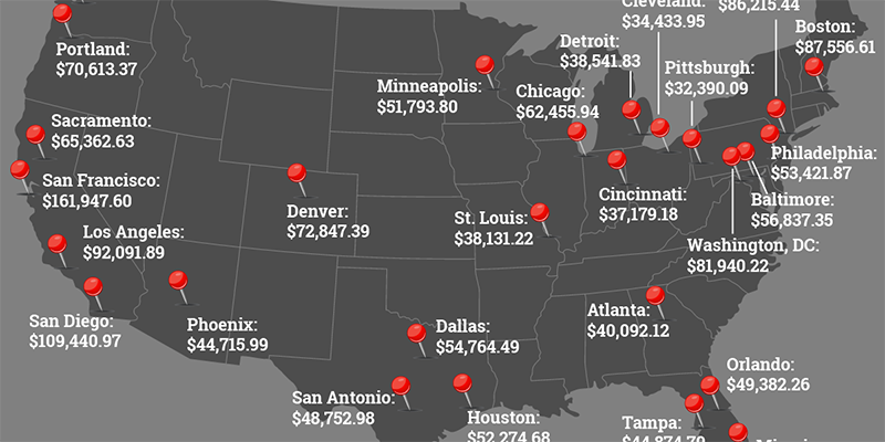 Map of USA showing salaries