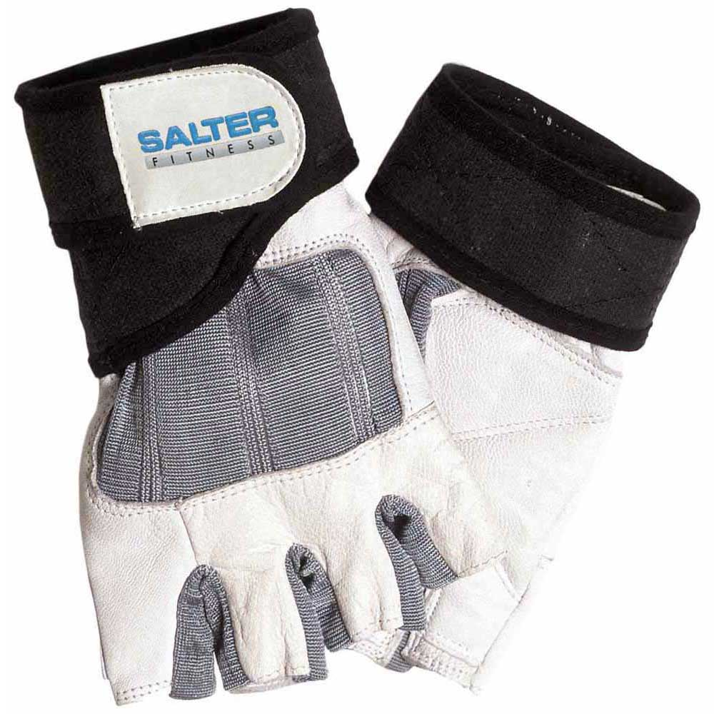 Salter Spandex Leather Gloves L Grey / White