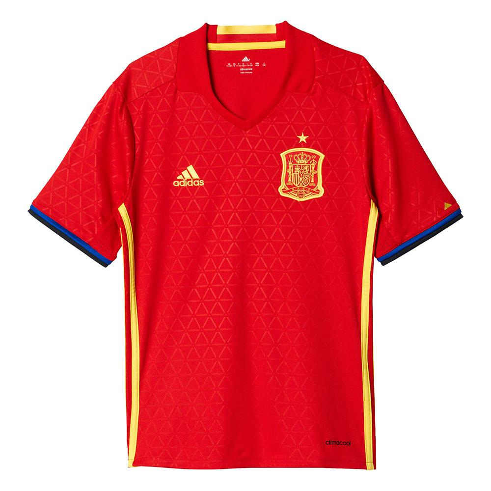 Adidas Spain Home 2016 Junior 13-14 Years Scarlet / Bright Yellow