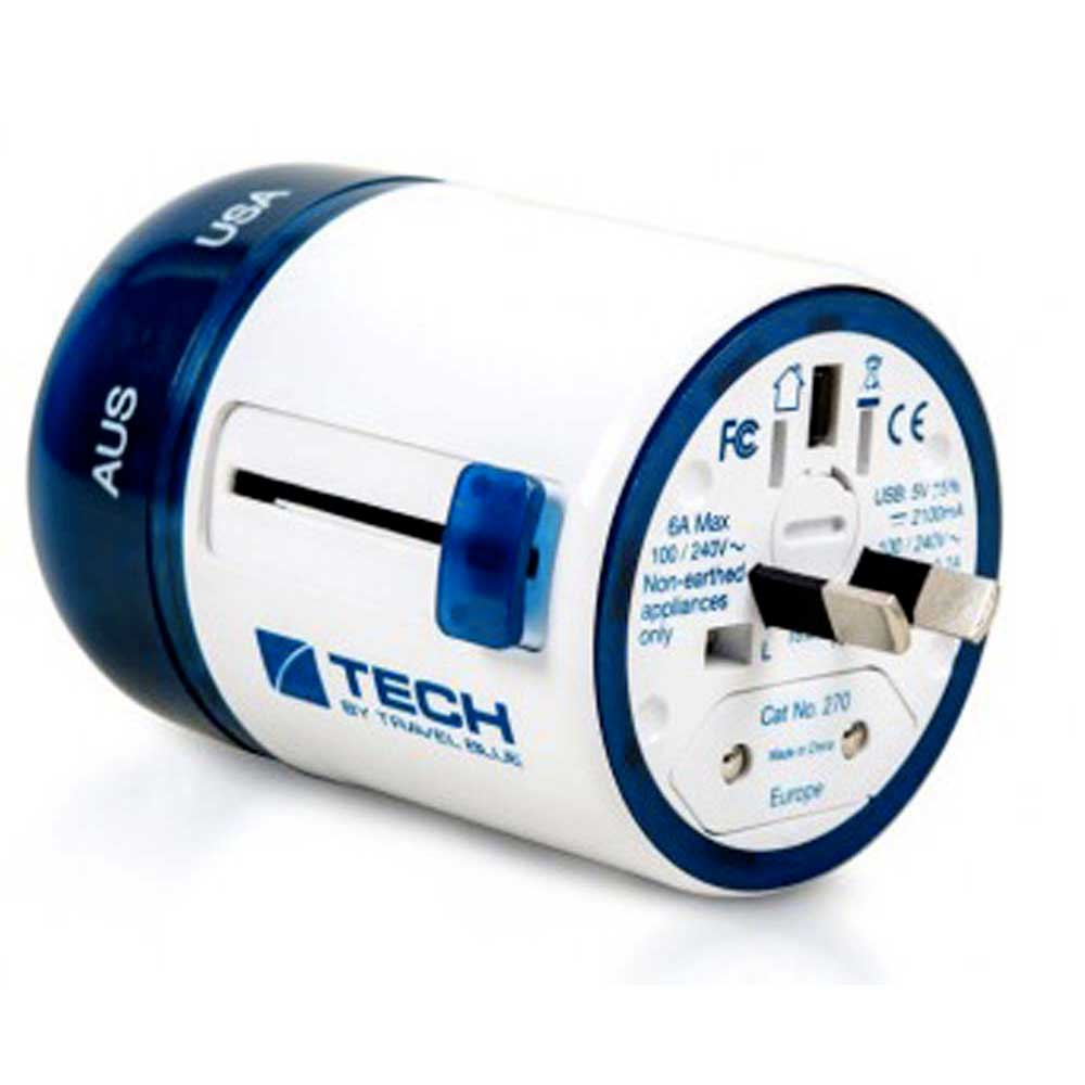 Travel Blue Twist & Side World Travel Adaptor+2 Usb One Size White / Blue