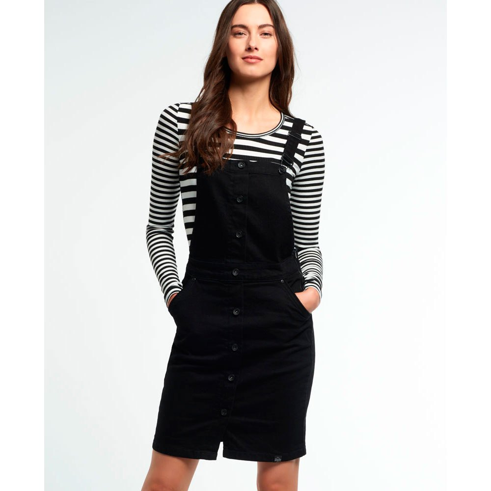 Superdry Pencil Dungaree Dress nero , Vestiti Superdry , moda moda moda a8f71d