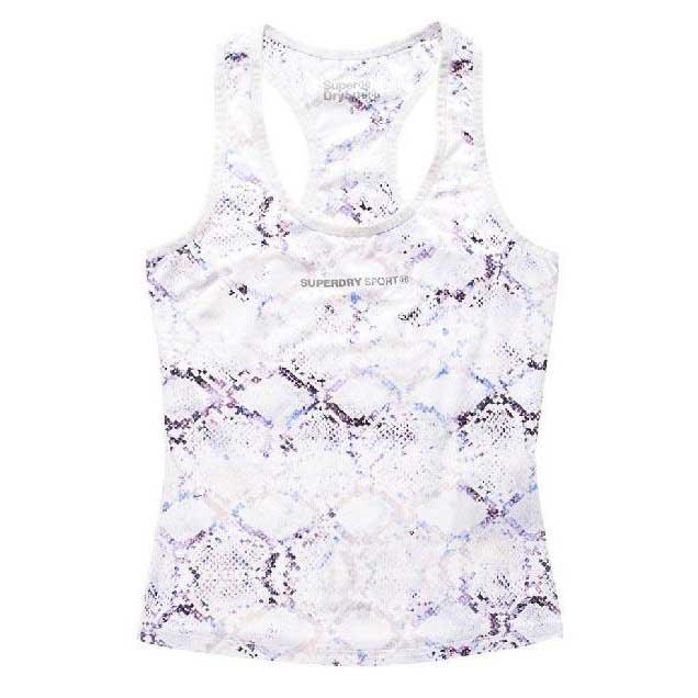 Superdry T-shirt Sans Manches Core Gym L White Python