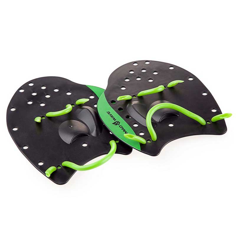 Madwave-Paddles-Pro-Black-Green-Racchette-Madwave-nuoto-ALLENAMENTO