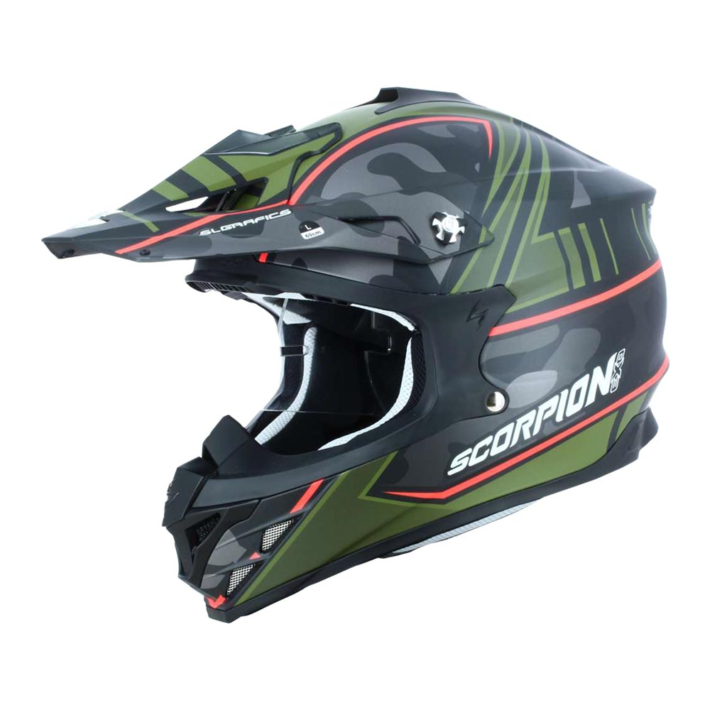 Scorpion Vx 15 Evo Evo Evo Air Miramar Black Matt / Green , Casques Scorpion , moto bd9e76