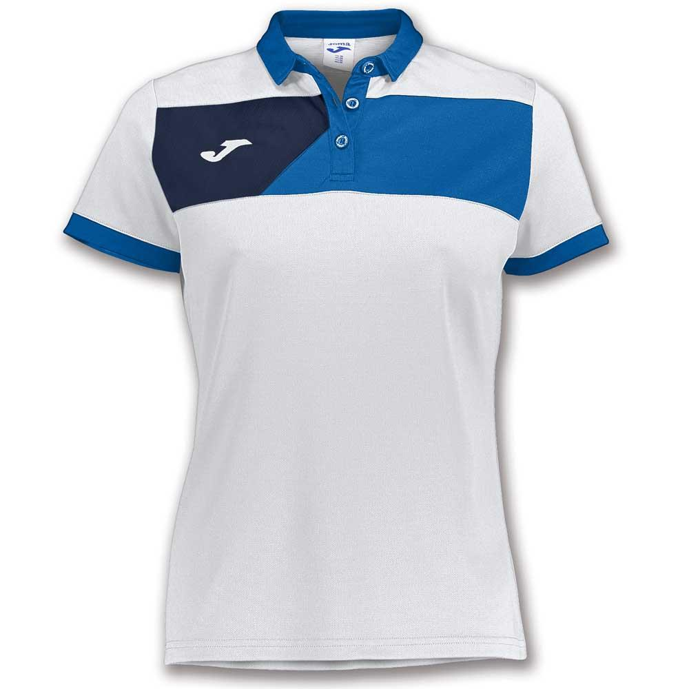 Joma Crew Ii Short Sleeve Polo Shirt L White / Royal