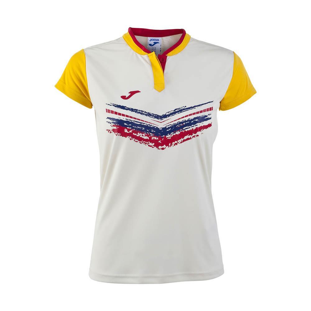 Joma Terra Ii Short Sleeve T-shirt M White / Yellow
