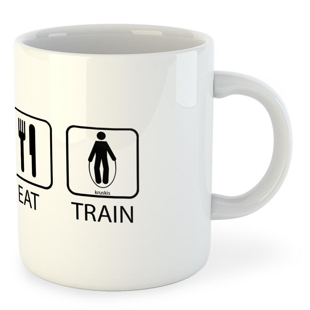 Kruskis Mug Sleep Eat And Train 325 ml (11 oz) White