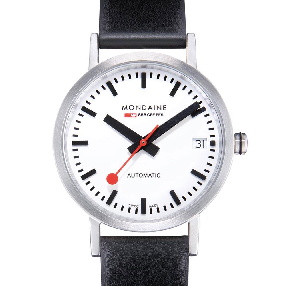 mondaine-classic-automatic-33-mm-white-black-leather-red-lining