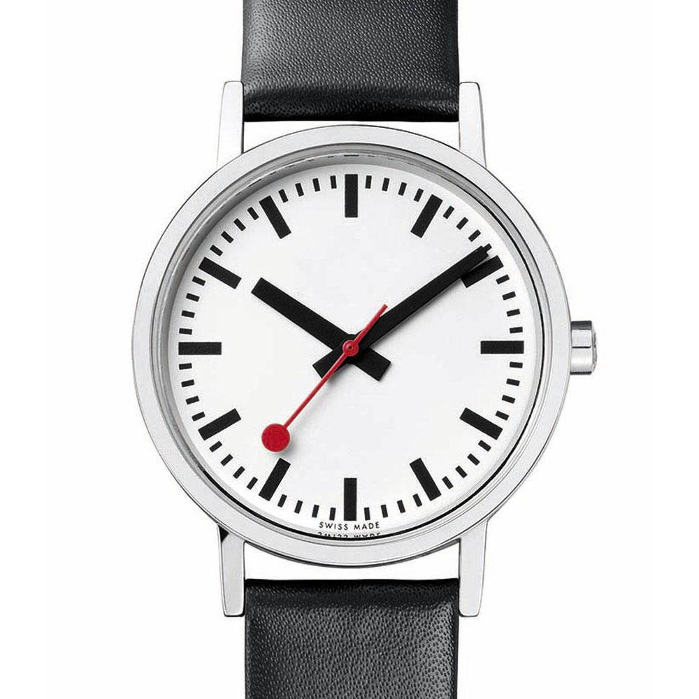 mondaine-classic-pure-30-mm-white-black-leather-red-lining