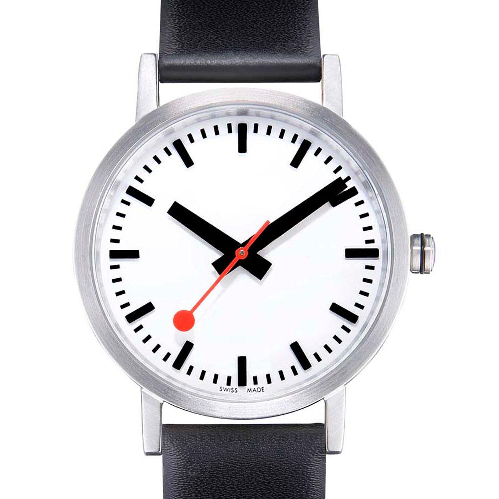 mondaine-classic-pure-40-mm-white-black-leather-red-lining
