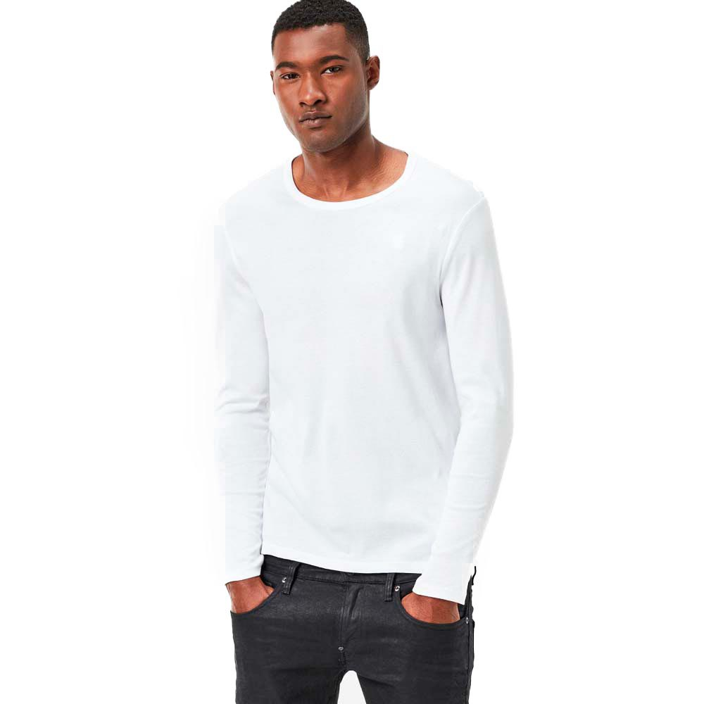 G-star Base Ribbed Neck Tee L/s 1-pack Premium 1 By 1 XXS White