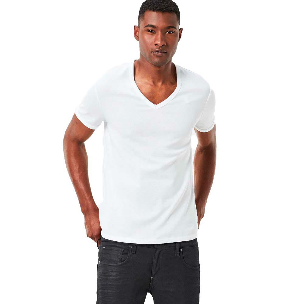 G-star Base Ribbed V Neck S/s 2 Pack Premium 1 By 1 XXL White