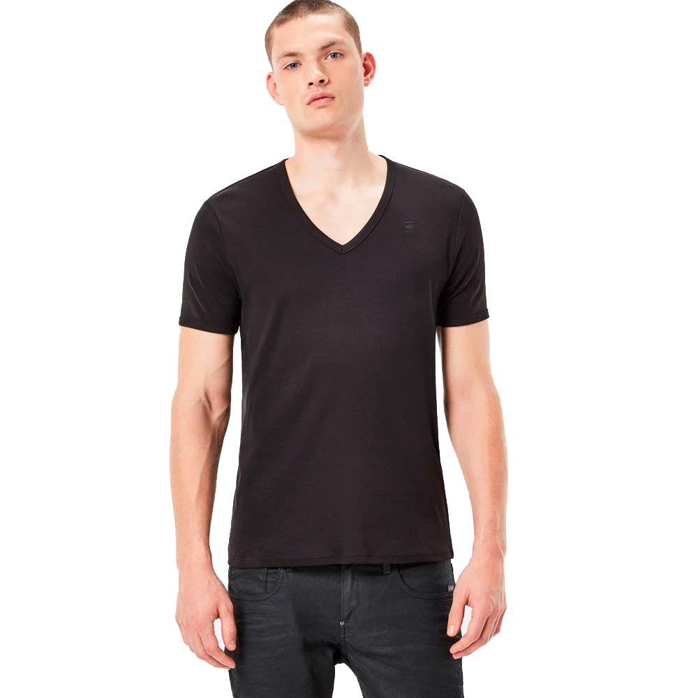 G-star Base Ribbed V Neck S/s 2 Pack Premium 1 By 1 XXL Black