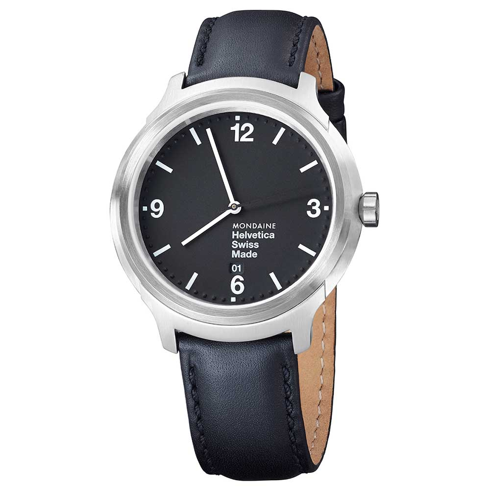 Mondaine Helvetica No1 43 Bold 43 mm Black / Black Leather