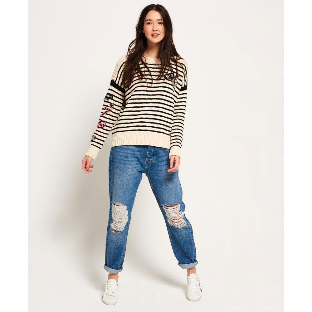 Superdry Anya Anya Anya Badged Jumper Mono Stripe , Pullover Superdry , moda 7f10b5