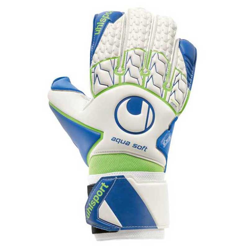 Uhlsport Gants Gardien Aquasoft 7 White / Pacific Blue / Fluo Green