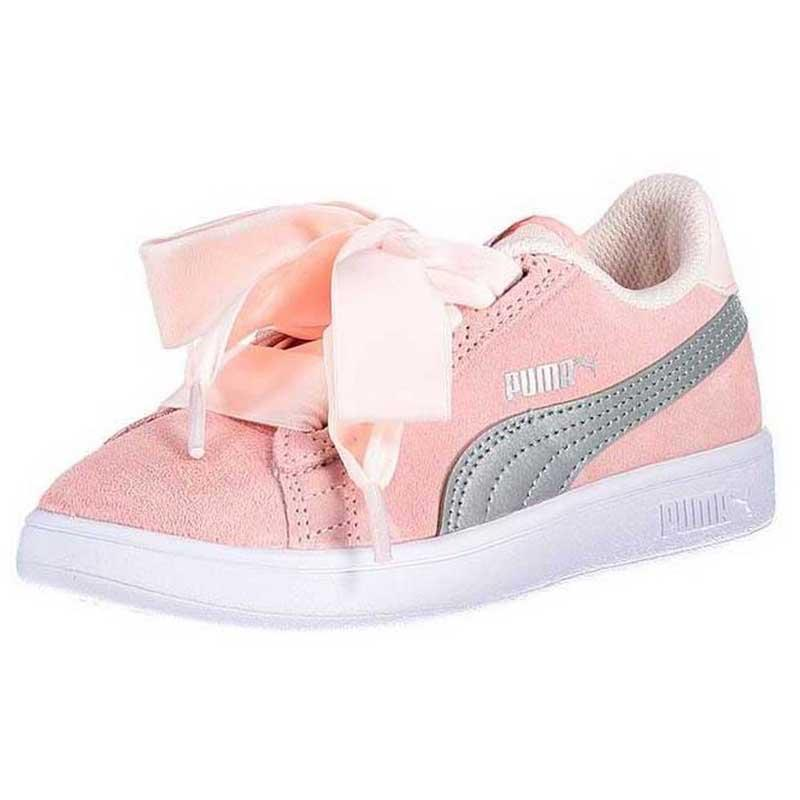 PUMA Smash V2 Ribbon AC PS Children s Girl s Shoes Rosa 366004 02 UK ... a3b9579ad