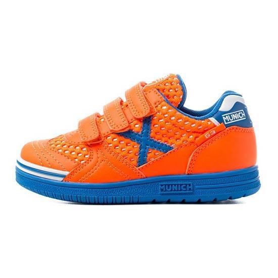 Munich Chaussures Football Salle G3 Breath Velcro In EU 26 Orange / Blue / White