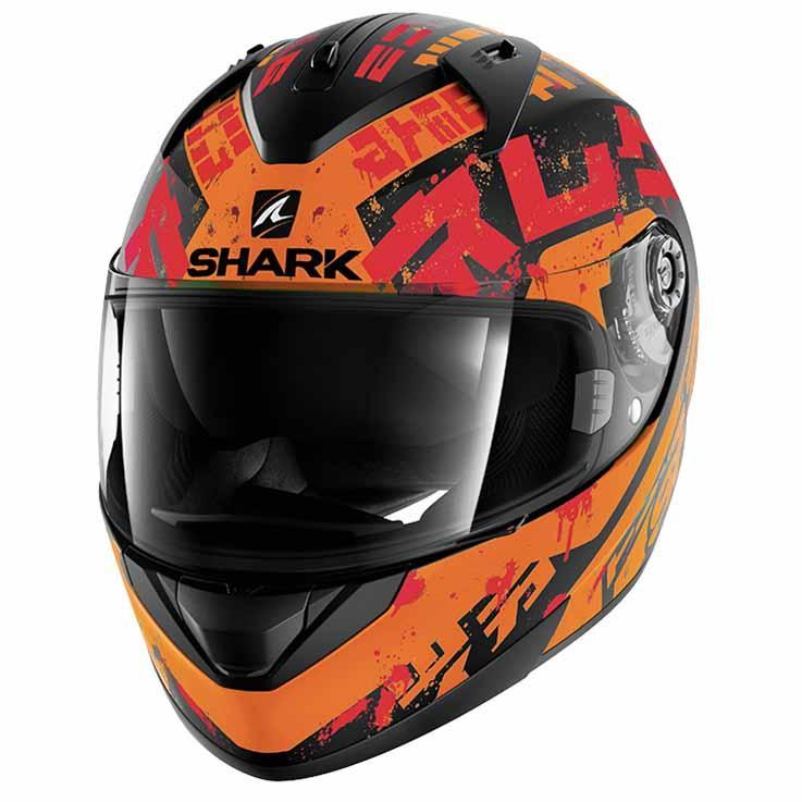 Shark Ridill Kengal Mat Black / Orange , / Red , Orange Casques Shark , moto 582d4f