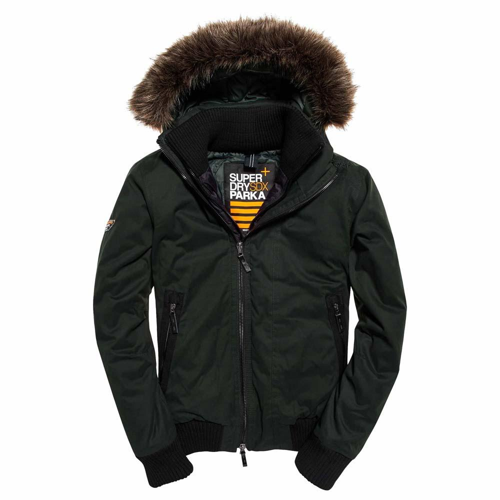 Mens Microfibre Faux Fur Hooded Windbomber in Armygrey