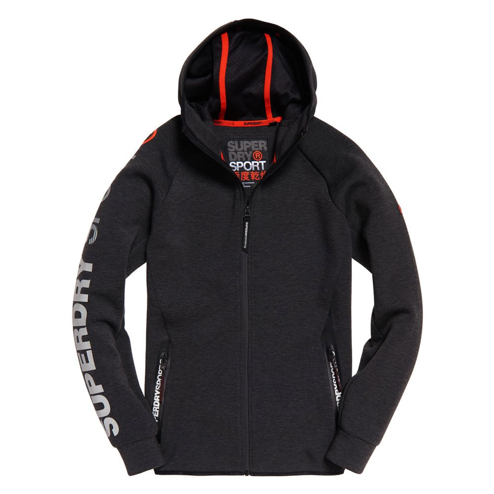 Superdry Gym Tech Stretch Zip Hoodie S Carbon