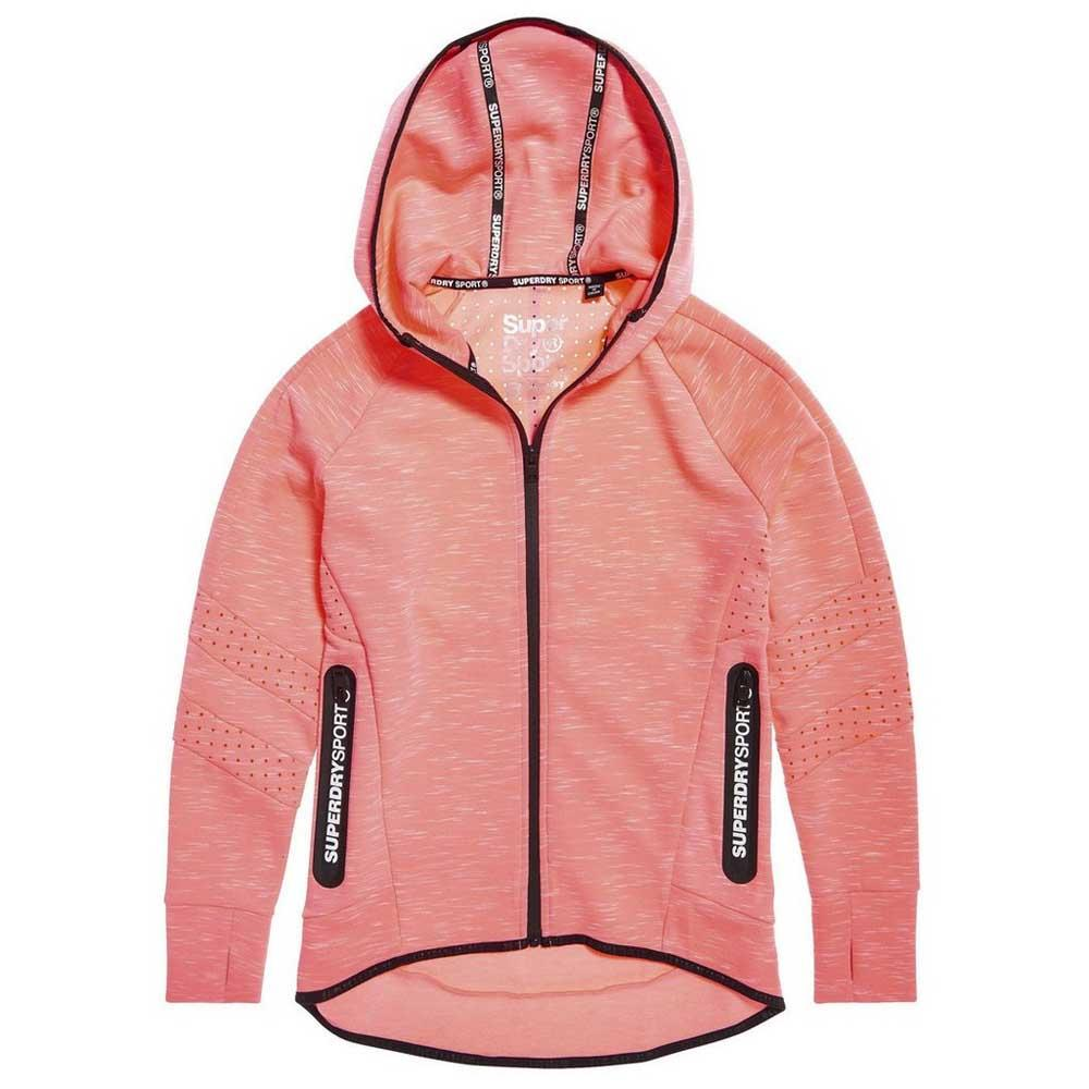 Superdry Core Gym Tech Panel Zip Hoodie S Fusion Pink